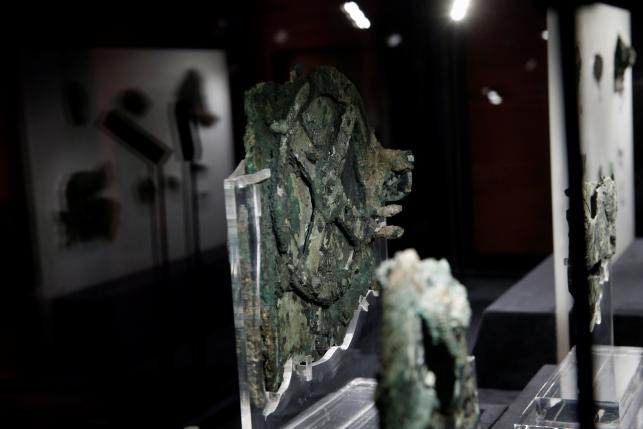 Fragments of the ancient Antikythera Mechanism are displayed at the National Archaeological Museum in Athens, Greece June 9, 2016. REUTERS/Alkis Konstantinidis