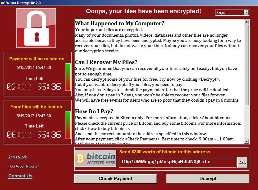 Скриншот Wana Decrypt0r
