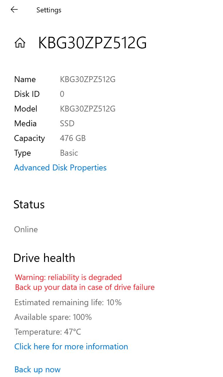 Windows 10 попытается предотвратить потерю данных при проблемах с диском SSD