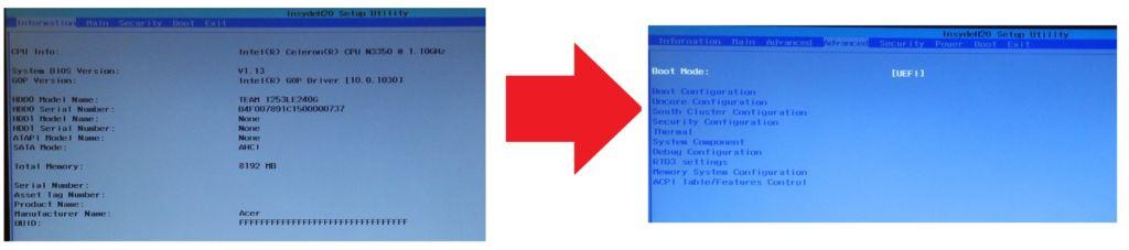 Як отримати розширений BIOS в ноутбуках з InsydeH2O: демонстрація на Acer ES1-332